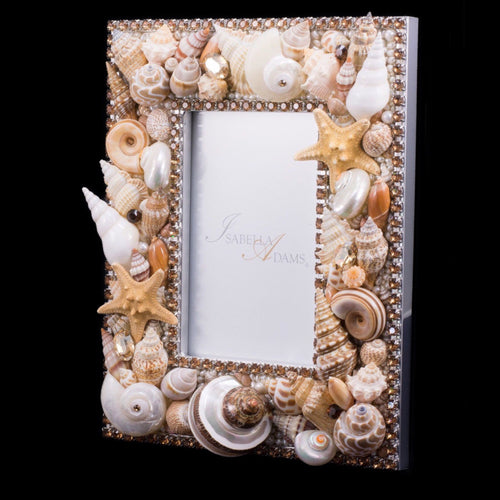 5 x 7 Seashell Picture Frame Featuring Topaz Swarovski © Crystals