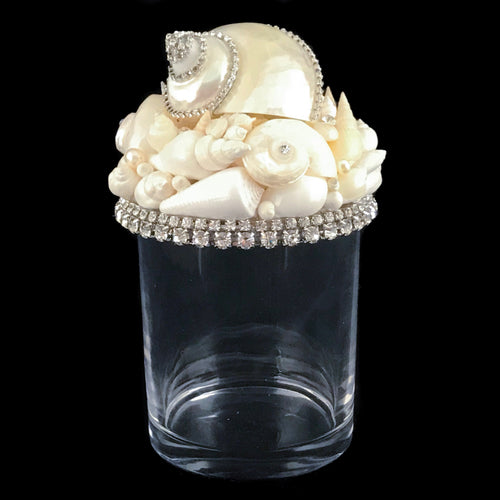 Sea Shell Cotton Ball Jar Featuring Swarovski © Crystals