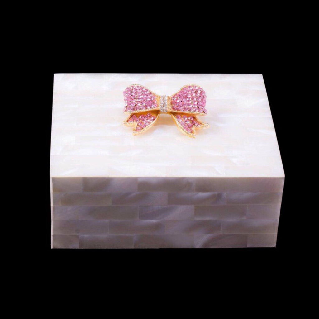 Mother of Pearl Keepsake Box Featuring Swarovski © Crystallized Bow | Pink