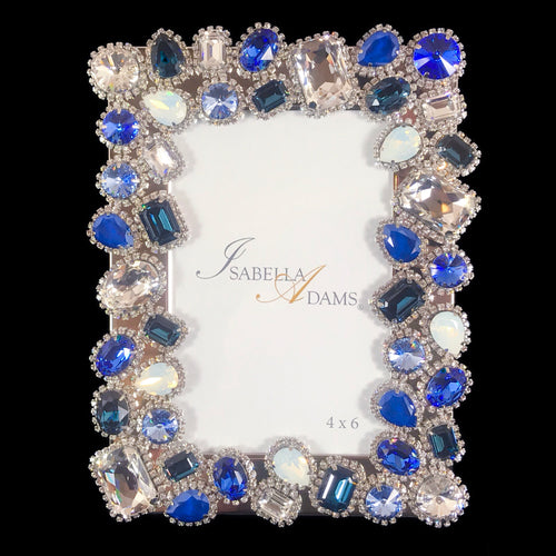 4 x 6 Sapphire and Clear Mix Picture Frame Featuring Swarovski © Crystals