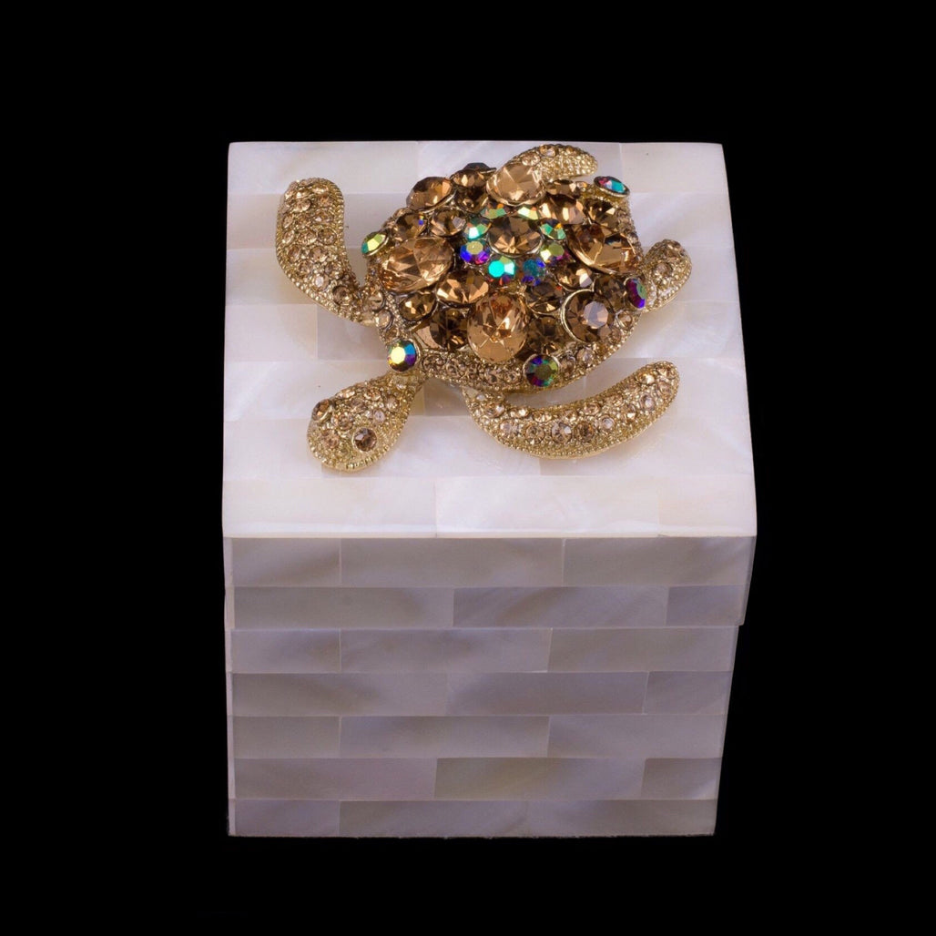 Mother of Pearl Ring Box Featuring Topaz Swarovski © Crystal Sea Turtle