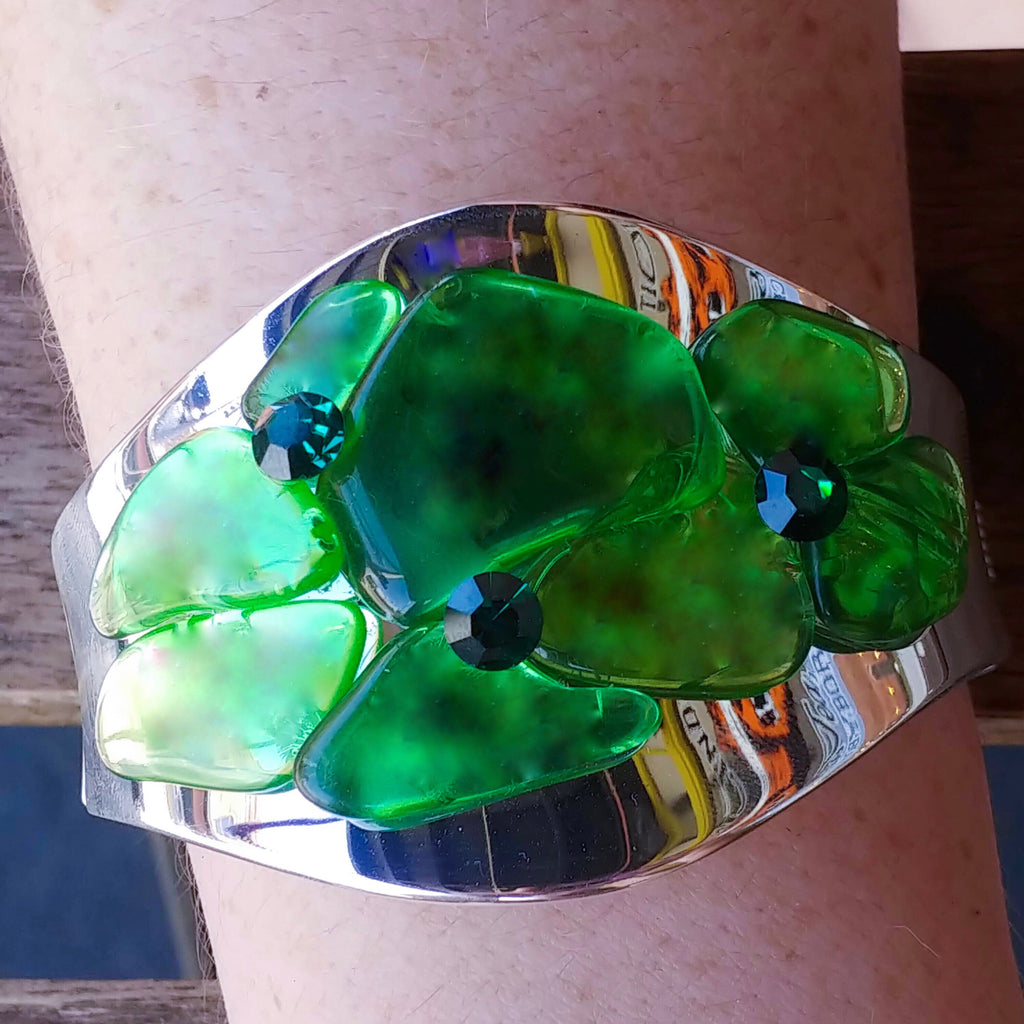 Emerald Sea Glass Cuff Bracelet Featuring Swarovski © Crystals