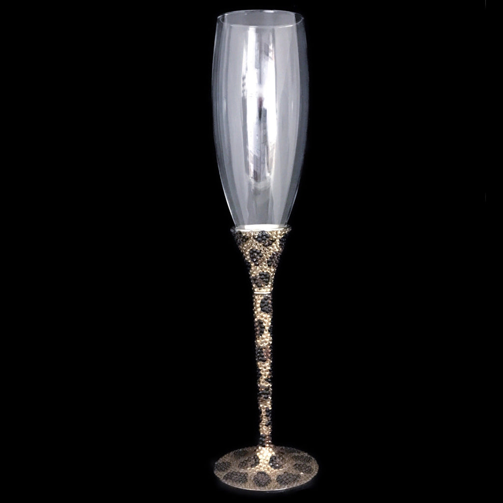 Leopard Champagne Flute Featuring Swarovski © Crystals