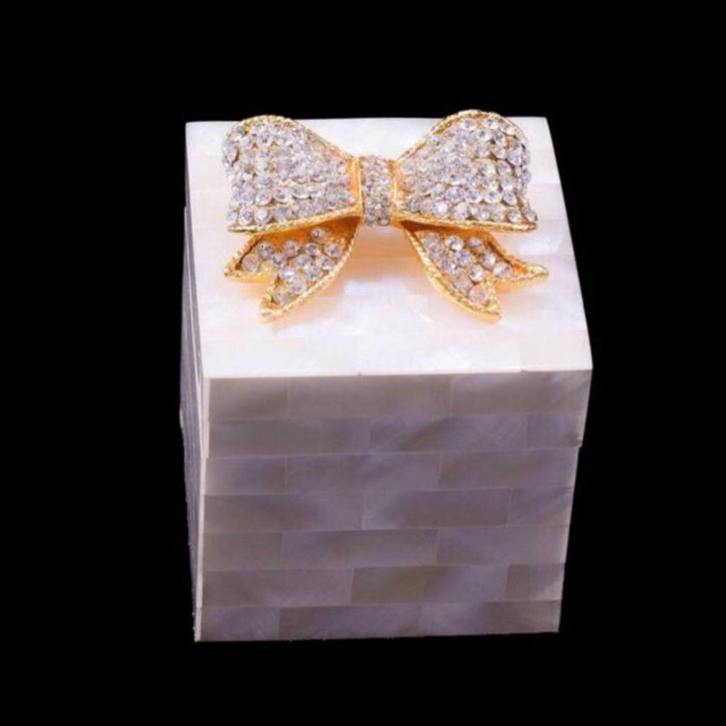 Mother of Pearl Ring Box Featuring Clear Swarovski © Crystallized Bow