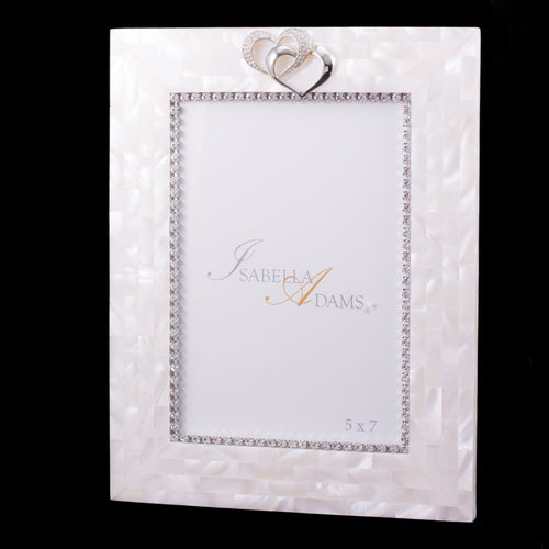 5 x 7 Mother of Pearl Locking Hearts Picture Frame Featuring Swarovski © Crystals