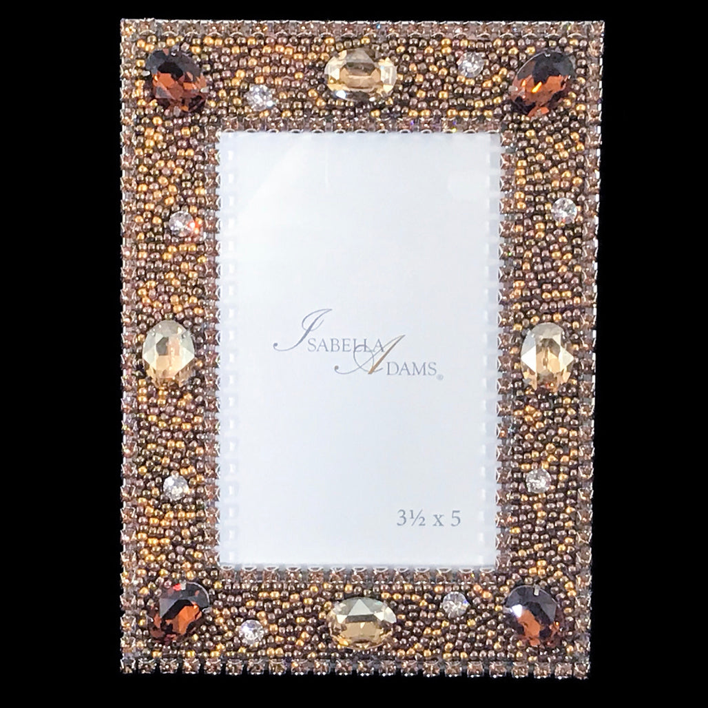3.5 x 5 Topaz Gold Crystallized Picture Frame Featuring Swarovski © Crystal