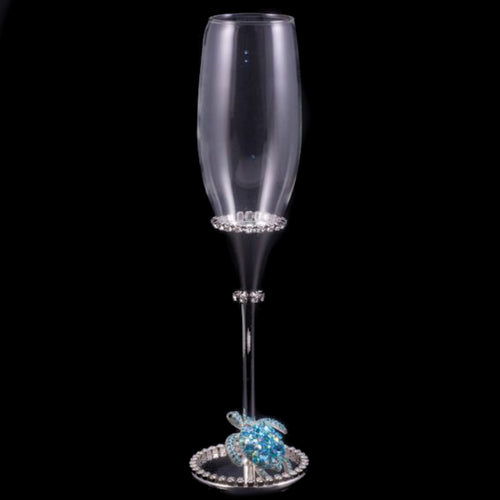 Wedding Champagne Glass with Turtle & Aquamarine Swarovski © Crystals
