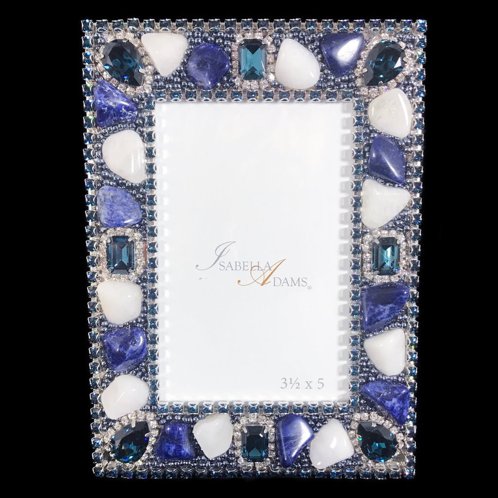 3.5 x 5 Blue Mix Gemstone Frame Picture Frame Featuring Swarovski © Crystals