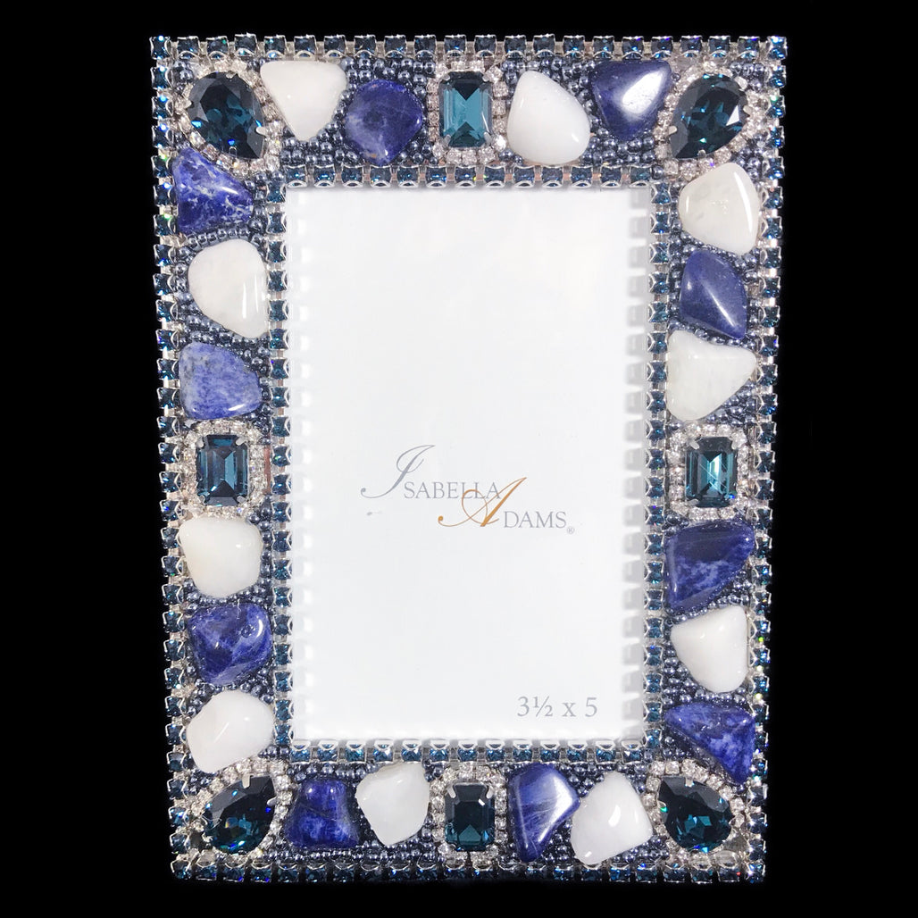 3.5 x 5 Montana Blue Mix Gemstone Frame Picture Frame Featuring Swarovski © Crystal