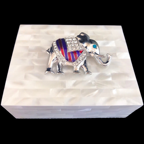 Mother of Pearl Clear, Purple & Red Elephant Keepsake Box Featuring Swarovski © Crystals