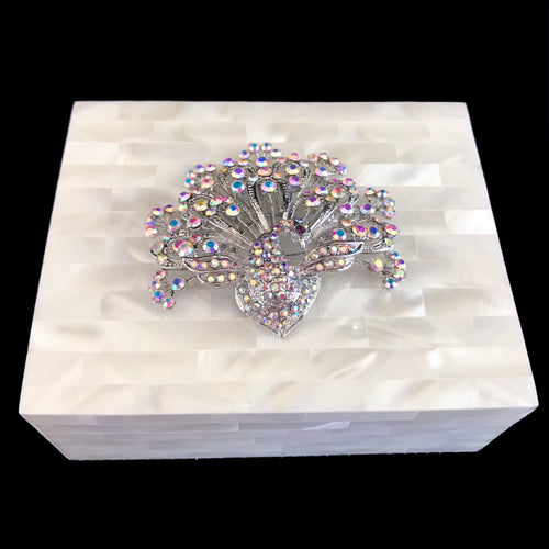 Mother of Pearl Silver Peacock Keepsake Box Featuring Swarovski © Crystals