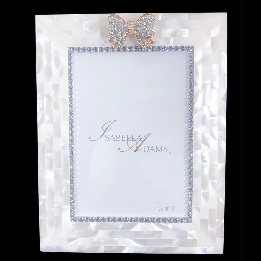 5 x 7 Mother of Pearl Clear Crystal Bow Picture Frame Featuring Swarovski © Crystals