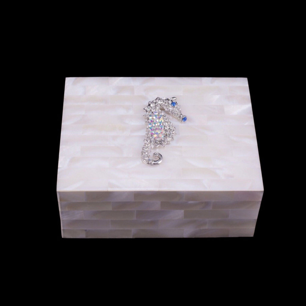 Mother of Pearl Sea Horse Keepsake Box Featuring Swarovski © Crystal