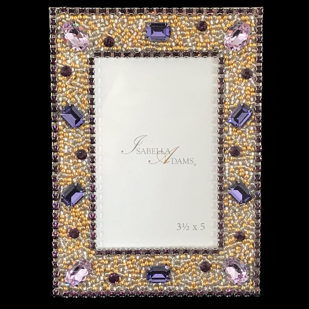 3.5 x 5 Amethyst Gold Crystal Picture Frame Featuring Swarovski © Crystals