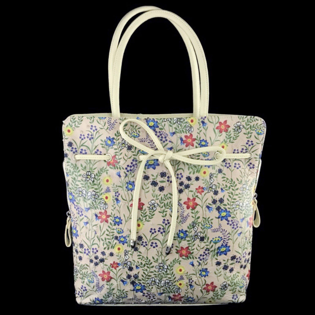 Floral Ostrich Leather Tote Bag  | Large