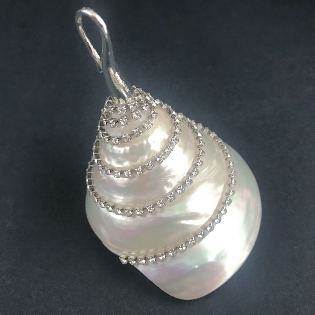 Natural Seashell Christmas Ornaments with Swarovski © Crystals