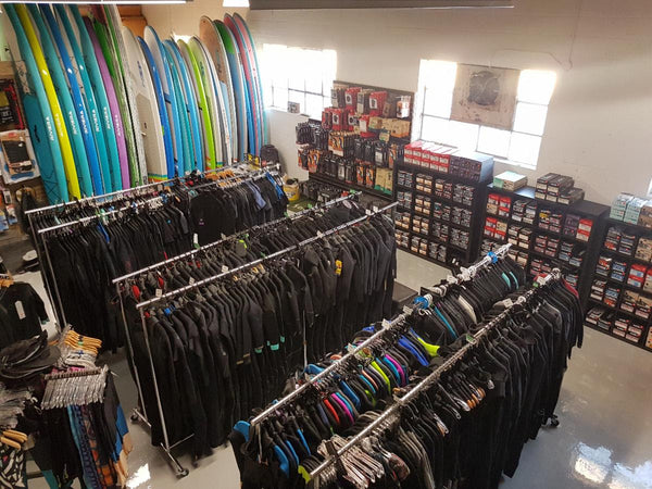 Our ever growing wetsuit, boots and gloves section.