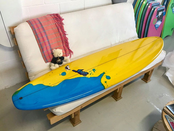A beautiful new custom surfboard arrived at the shop.