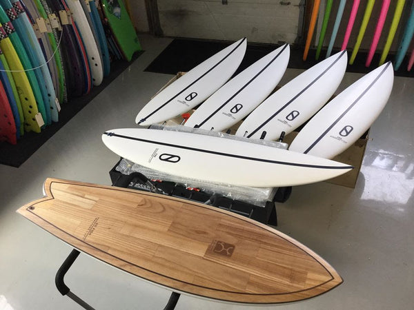 Some of the latest Firewire Surfboards designed by Slater and Machado.