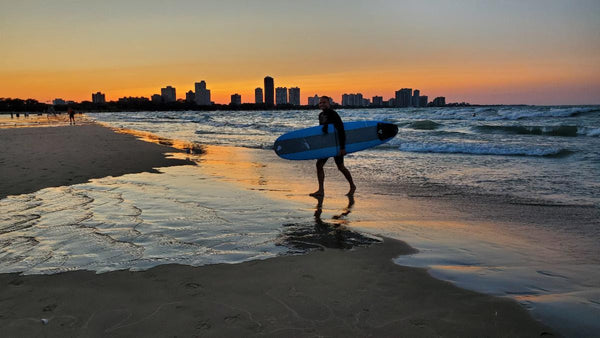 Sunset surf in Chicago, Lake Michigan. Photo by Whitney Aziz.