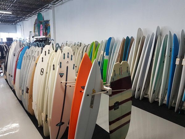 Surfboards temporarily in place.
