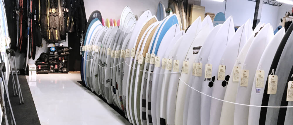 Surfboards on the rack at Surf Ontario Greats Surf Shop