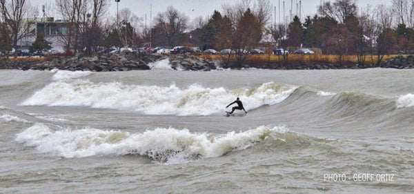 Unknown surfer at Scarborough Bluffs Toronto. Photo by Geoff Ortiz.