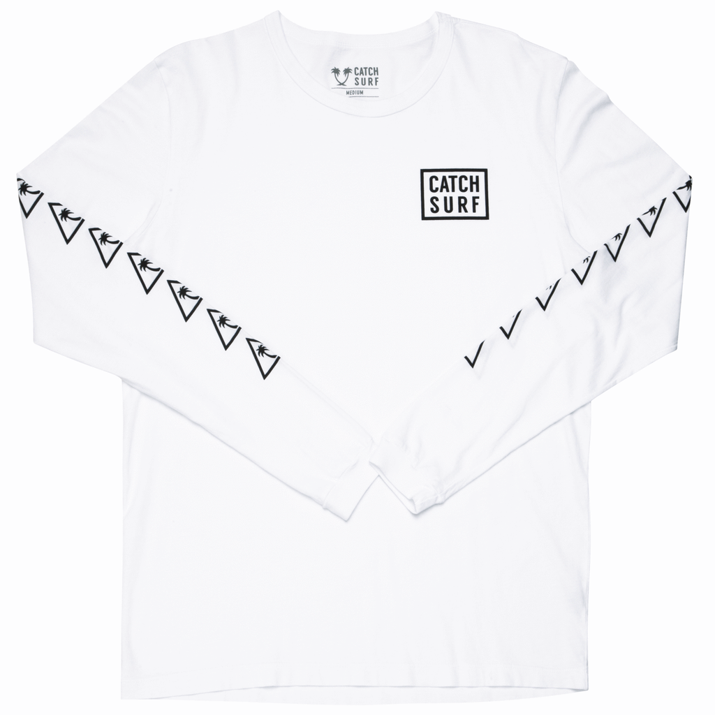 Long Sleeve T-Shirt - Catch Surf - Stacked LS Tee - White