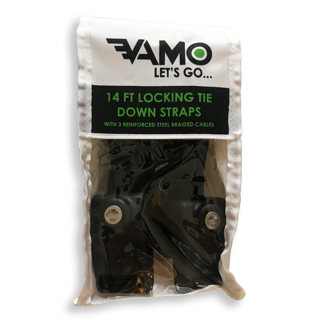 Tie Downs / Straps - Vamo 14' Locking Tie Down Straps with Interwoven Braided Steel Cables