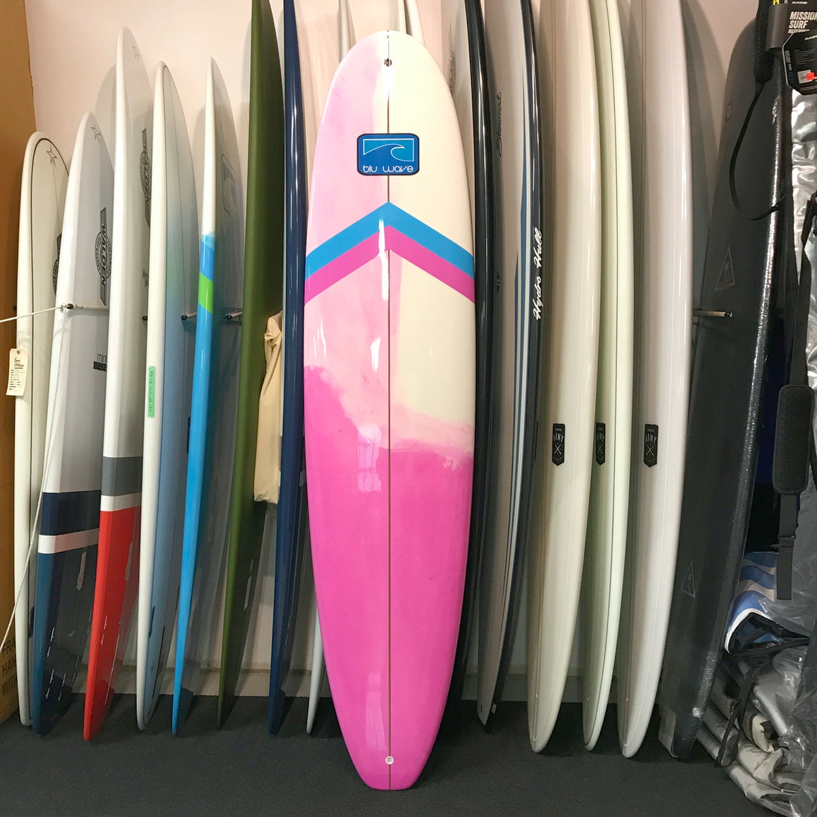 Blu Wave - Surf Series 8.0 Longboard Surfboard - Epoxy - Blu/Pink