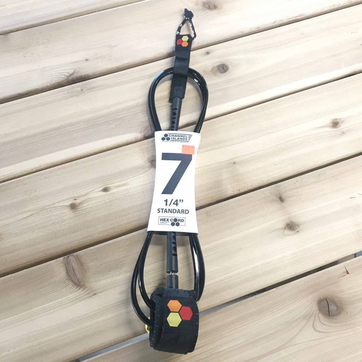 Leash - Channel Islands - 7' 1/4 Hex Cord Standard - Black (Red/Orange/Yellow Hex)