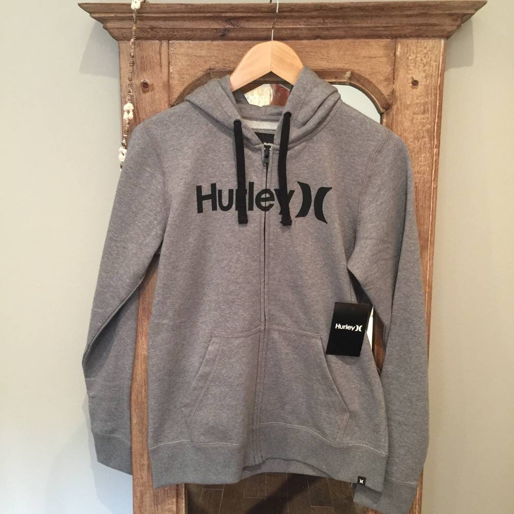 Hurley Women's Clothing:  One&Only Fleece Zip - Light Grey - Surf Ontario