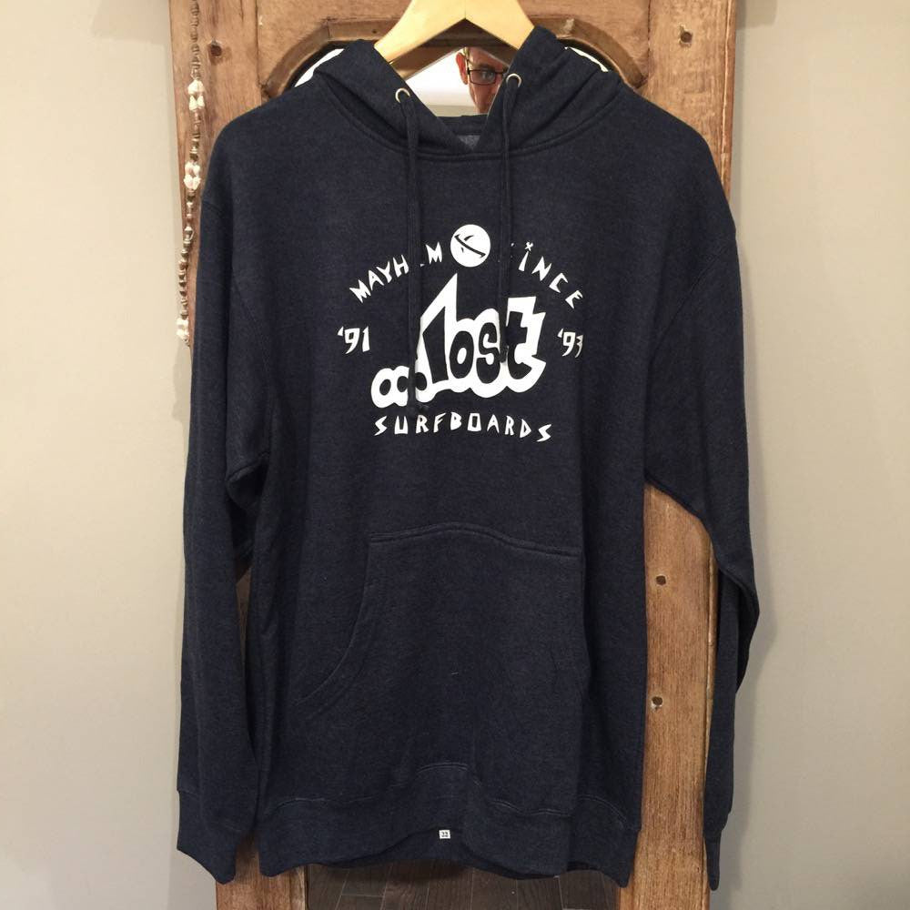 Hoodie - Lost Surfboards - Mayhem since '93 - Blue/Grey with White print - Surf Ontario