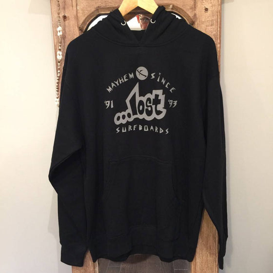 Hoodie - Lost Surfboards - Mayhem since '93 - Black with Grey print - Surf Ontario