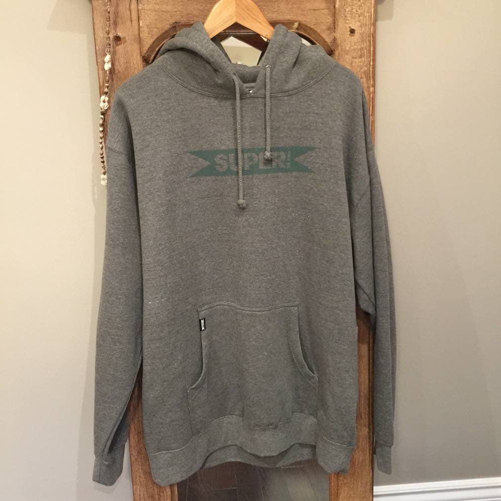 Hoodie - SUPERbrand surfboards - Grey with Blue/Grey logo - Surf Ontario