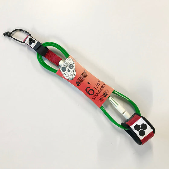 Leash - Channel Islands - 6' 1/4 CI Leash Bobby Hex Standard Red/White/Green