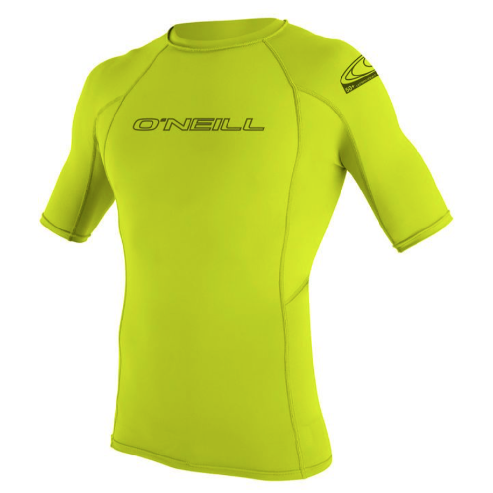 Mens Rashies O'Neill Skins Short Sleeve Crew Rash LIME
