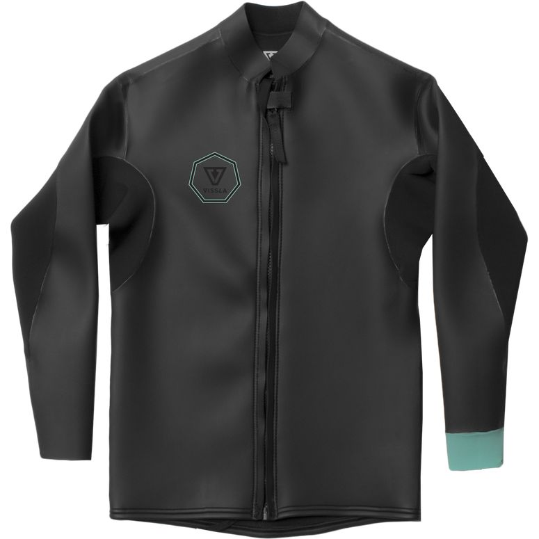 2mm Mens Vissla North Seas Smoothy Front Zip Jacket - Black With Jade - Surf Ontario