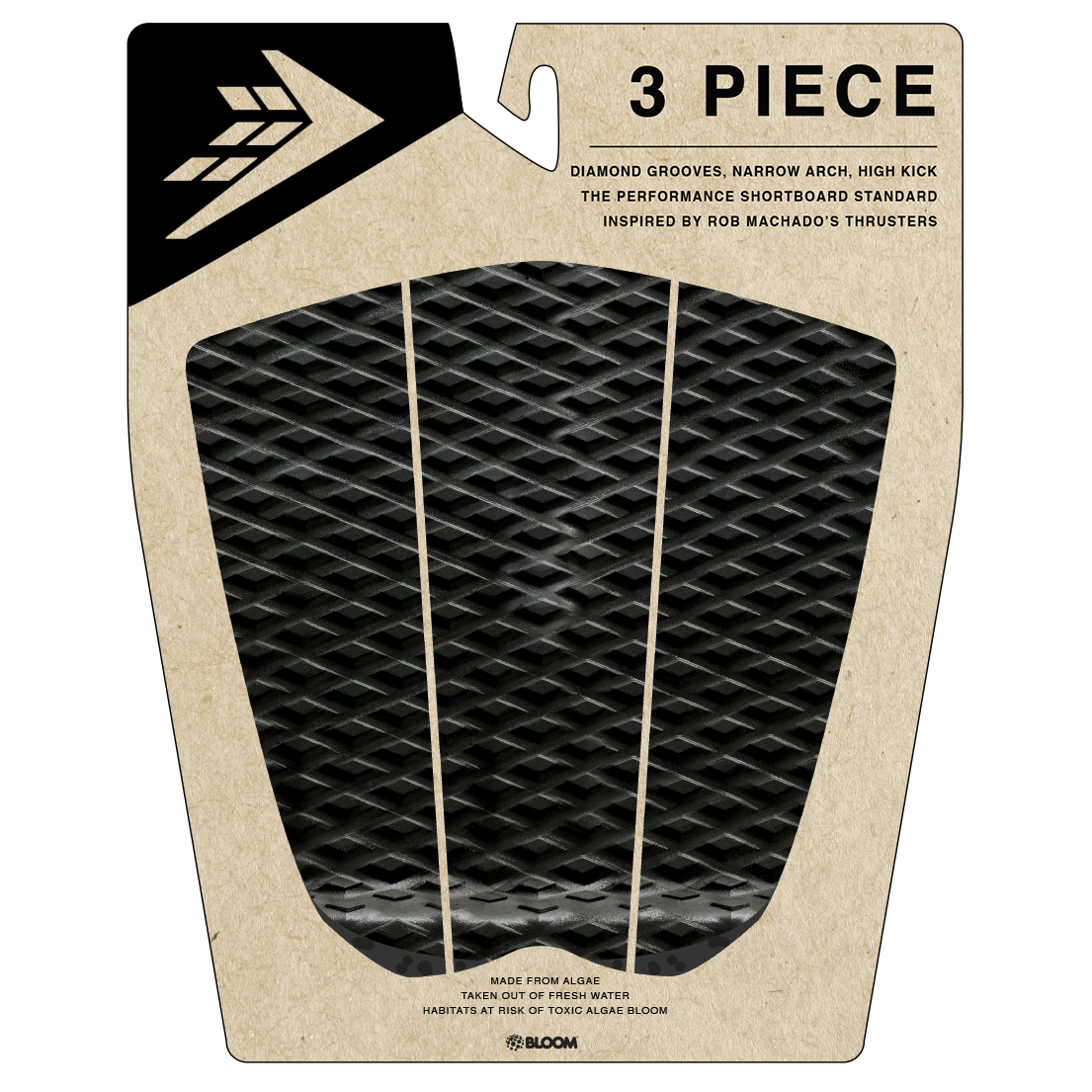 Deck pads - Firewire - 3 Piece Arch Traction Pad - Black/Charcoal