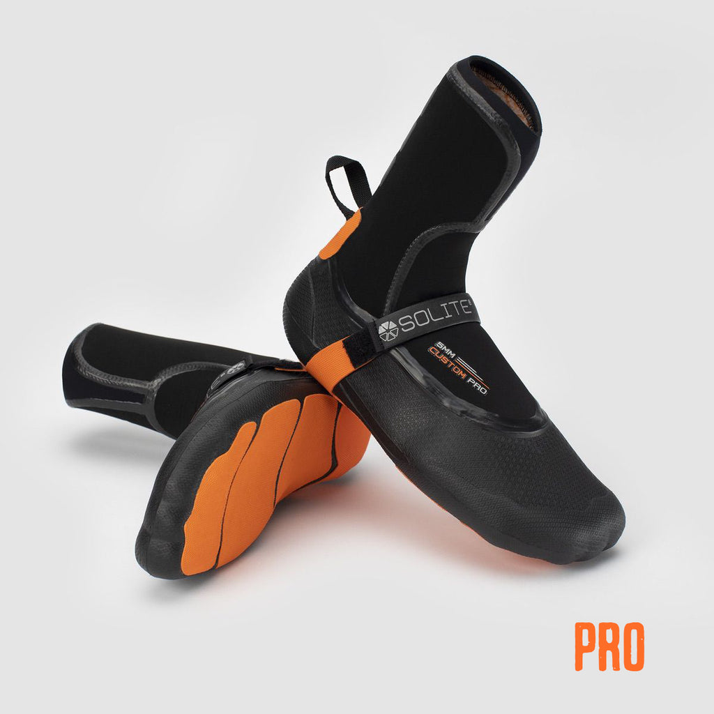 Booties 5mm SOLITE Custom Pro (Black/Orange) - Includes Heat Booster Socks 2021