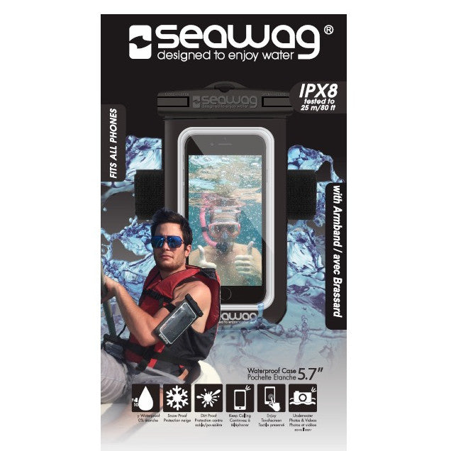 Waterproof electronic gear - Seawag Waterproof case for smartphone with armband and earphones jack Black