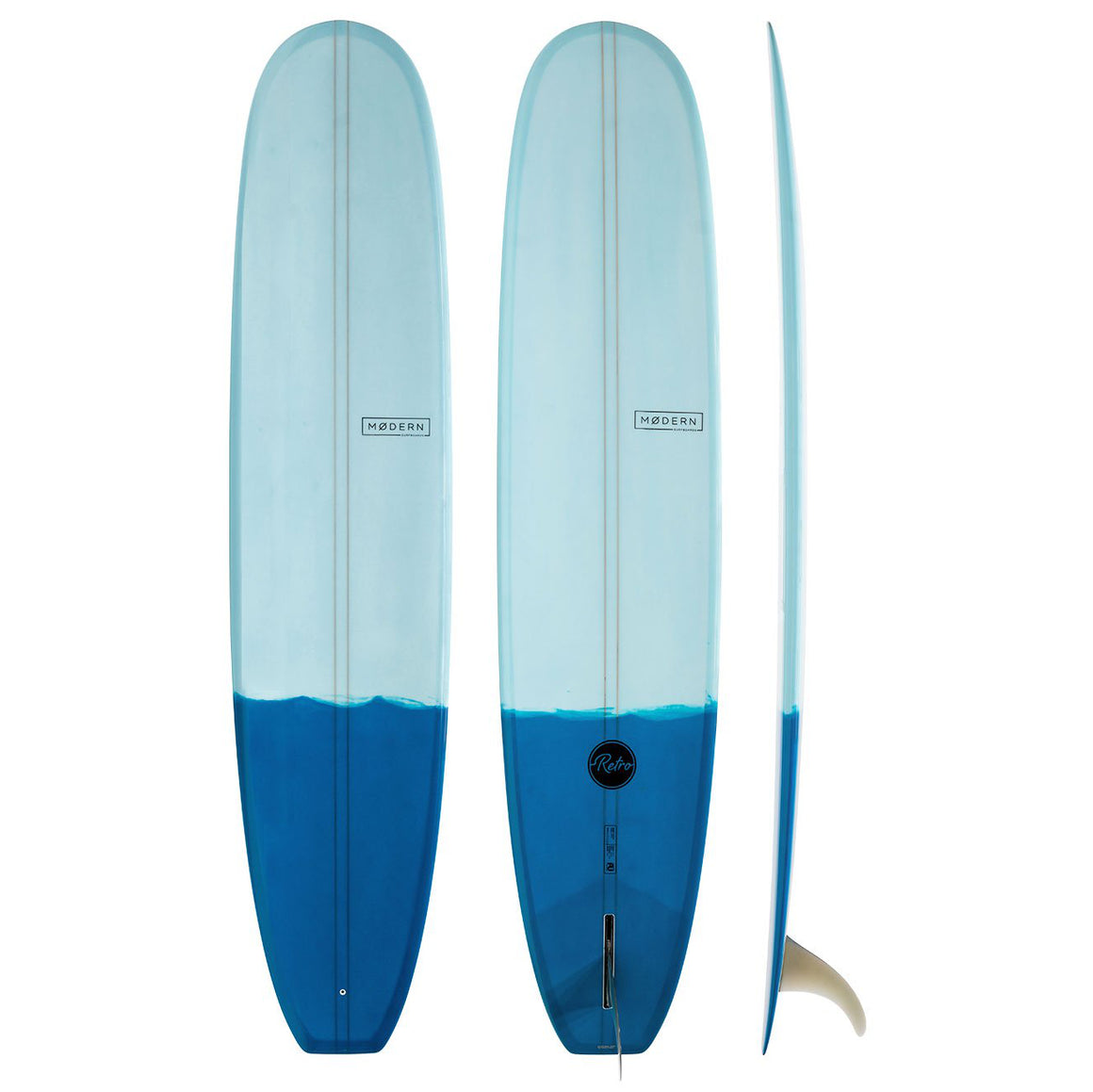 Modern Longboard - 9'6 Retro PU Two Tone Blue