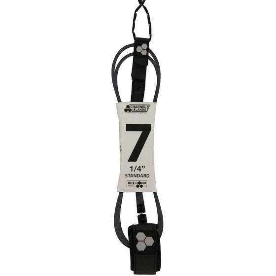 Leash - Channel Islands - 7 1/4 Hex Cord Standard - Black (Grey Hex)