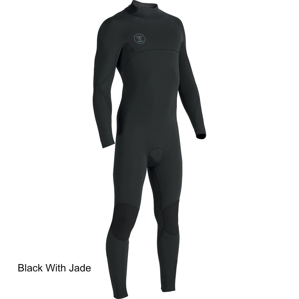 3/2 Mens Vissla SEVEN SEAS FULL Back Zip - Black (BLK) - Surf Ontario