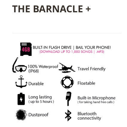 Waterproof electronic gear -  THE  BARNACLE+ (Blue tooth and card) - Surf Ontario