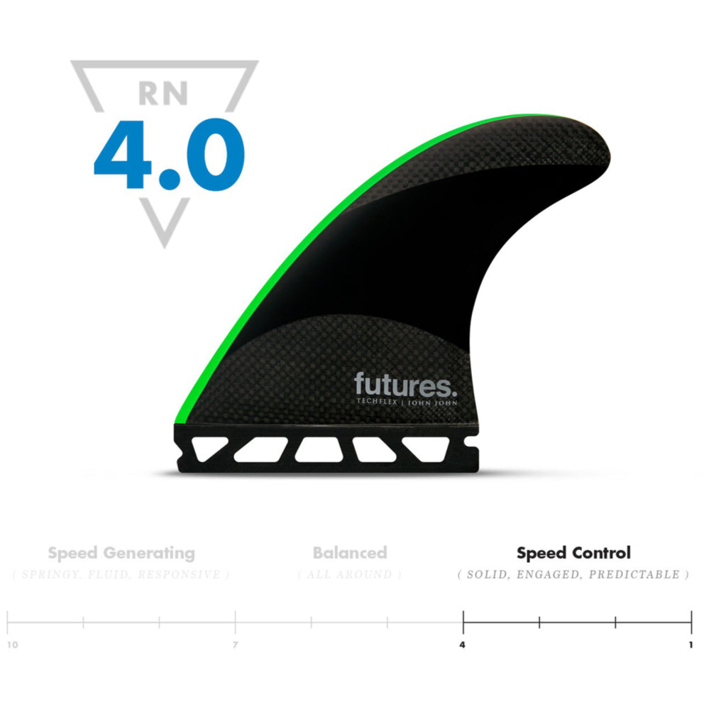Futures - THRUSTERS - JJ2 JOHN JOHN (M) - Black/Neon Green - Techflex