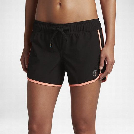 "Hurley Women's walk short Phantom 30 5"" BS - Black w/ Hot Coral"