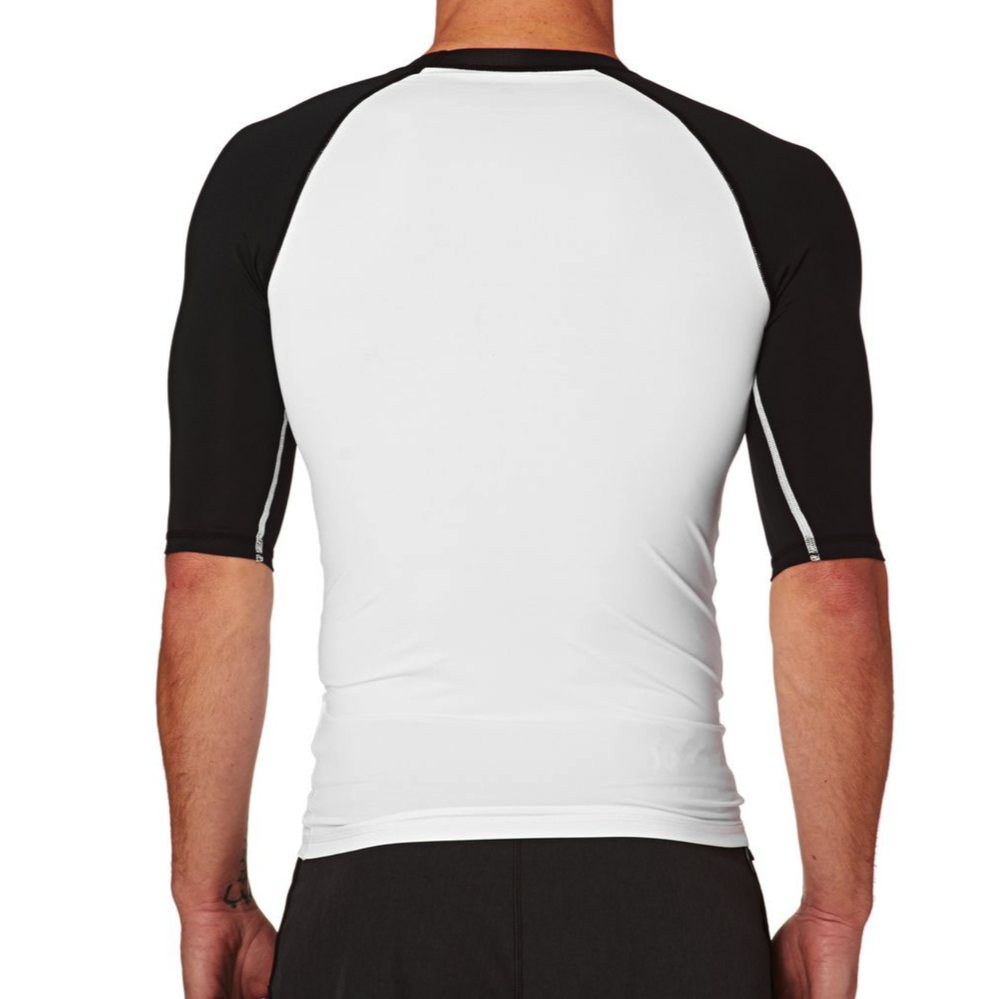 Mens Rashies Hurley One & Only Short Sleeve Rash Vest Black/White