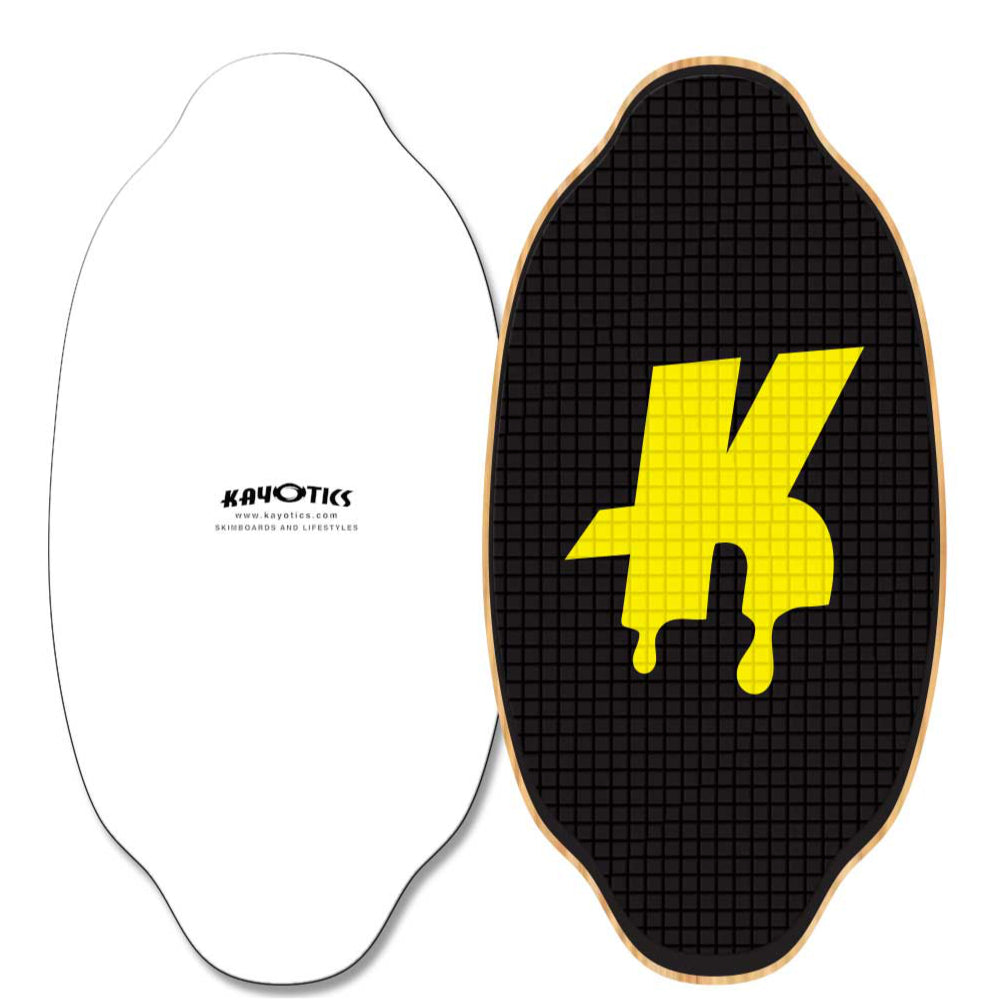 Kayotics skimboards - Classic Series - Dripped - Black/Yellow - Large