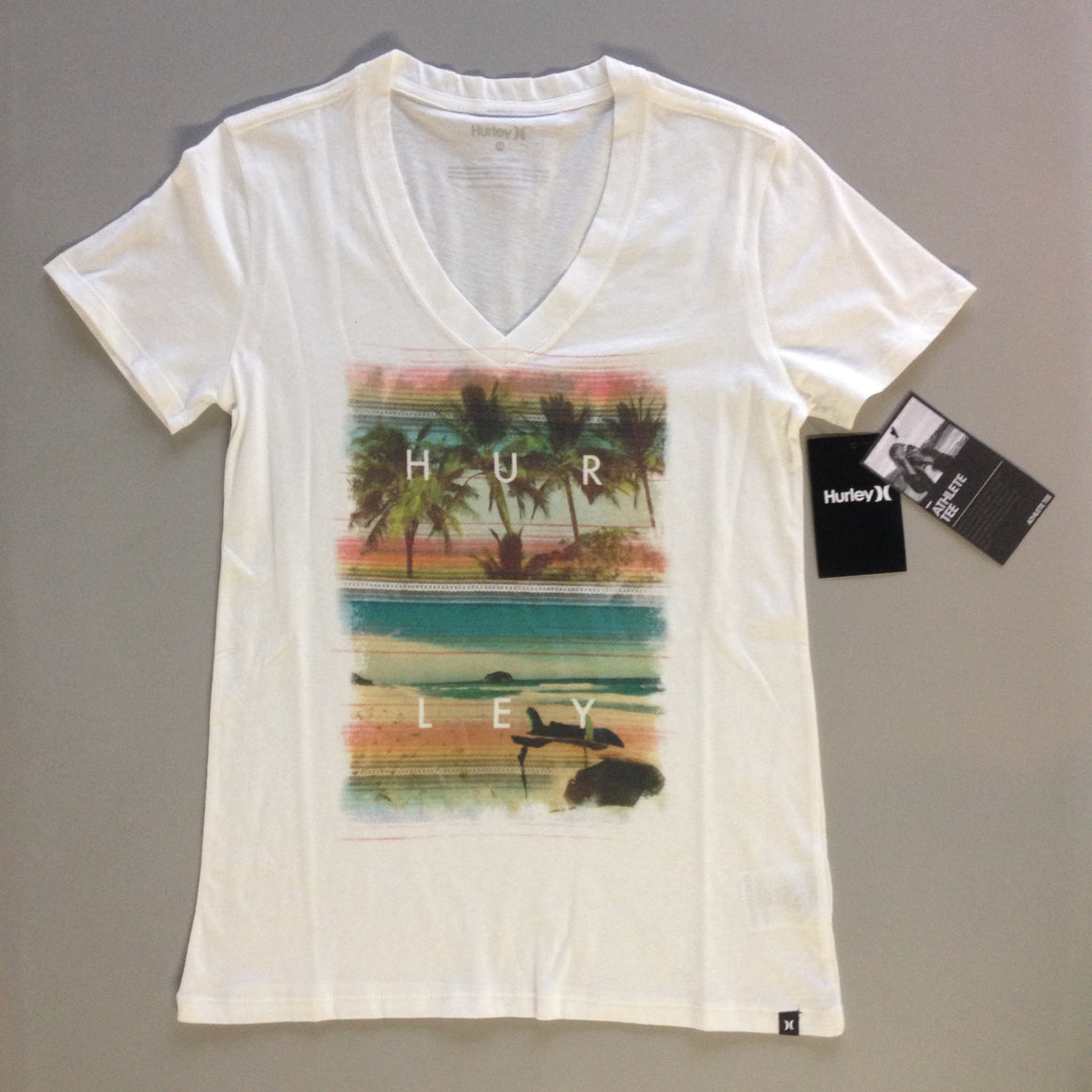 Hurley Women's Clothing: Lakey Peterson V-Neck White - Surf Ontario